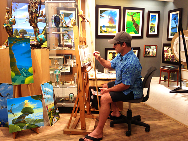 Michael Provenza, surreal artist, live painting at Tabora Gallery