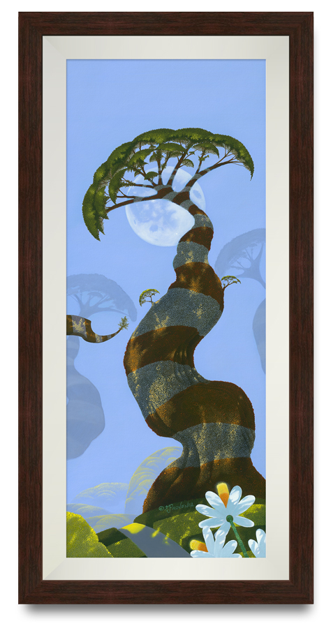 """Blue Moon"" by Michael Provenza in dark walnut frame with white linen liner"