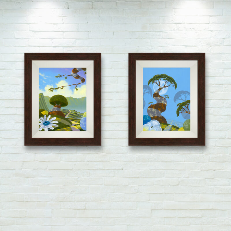 """""""Inward Bound"""" and """"Twilight Fog"""" 9x12 set framed by Michael Provenza"""