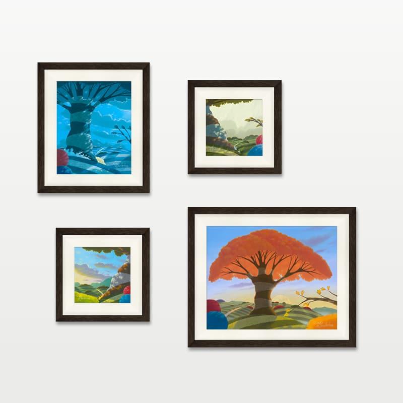 Seasons framed charcoal