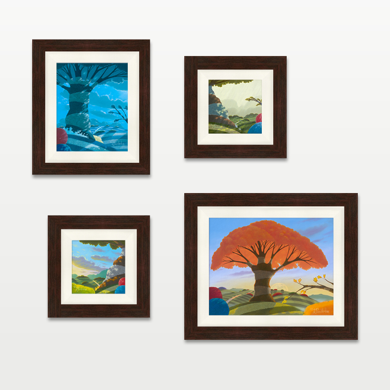 Seasons framed dark walnut