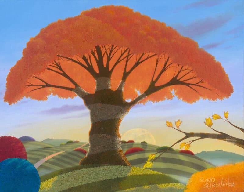 Fall - Buoyant Harvest Moonrise 11x14
