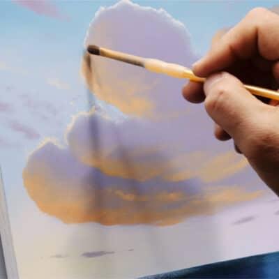 Sunrise Sunset cloud painting in progress