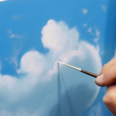 Daytime Clouds painting in progress detail